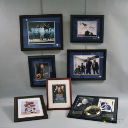 Eleven Framed Musician, Athlete, and Actor Autographs and Collectibles