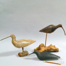 Three Carved and Painted Shorebird Decoys