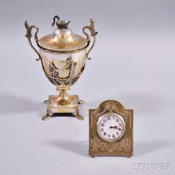 Sterling Silver Desk Clock and Silver-plated Urn