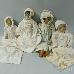 Two Stockinette Missionary Dolls, a Babyland Rag Doll, and an Oilcloth Doll