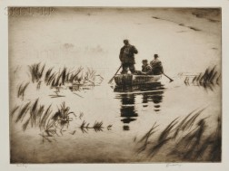 Levon West (American, 1900-1968)      Two Sporting Scenes:  Duck Hunters Paddling