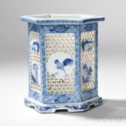 Blue and White Reticulated Vase