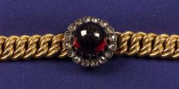 Antique 18kt Gold, Garnet and Diamond Bracelet