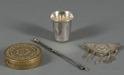 Judaic Etched Brass Astrolabe, Silver Ornament, Kiddush Cup, and a Torah Pointer.