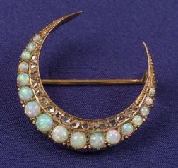 Edwardian Opal and Diamond Crescent Brooch