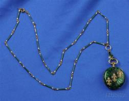 Antique Enamel and Diamond Pendant Watch and Chain, Bigelow Kennard & Co.