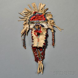 Apache Beaded Hide and Trade Cloth Model Cradle Decoration