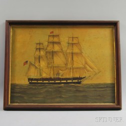 American School, 19th Century      Portrait of the New Bedford Whaling Ship John Carver