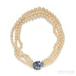 Sapphire, Diamond, and Cultured Pearl Necklace, Seaman Schepps