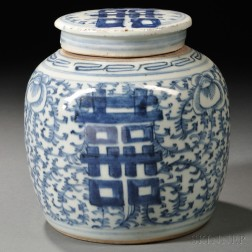 """Blue and White """"Double Happiness"""" Covered Ginger Jar"""