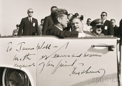 Kennedy, John Fitzgerald (1917-1963) Signed Photograph, Signed Bumper Sticker, and Two Framed Items.
