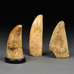 Three Scrimshaw Whale's Teeth and Two Ivory-handled Canes