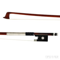 German Nickel-mounted Violin Bow, L. Bausch, c. 1900