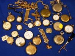 Twenty-one Assorted Silver and Gold-filled Pocket and Wristwwatches