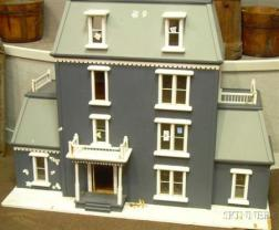 Gray-painted Wooden Victorian-style Dollhouse
