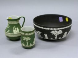 Wedgwood Dark Green Jasper Creamer, Vase and Black Jasper Bowl.
