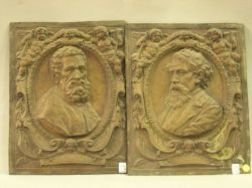 Two Embossed Tin Relief Panels