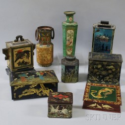 Nine Exotic-themed Advertising Tins
