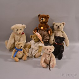 Seven Collectible Steiff Teddy Bears