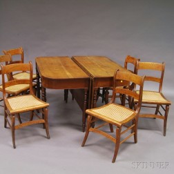 Two-part Federal Cherry Banquet Table and a Set of Six Classical Maple Side Chairs