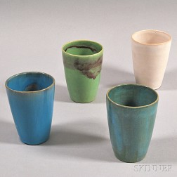 Four Paul Revere Pottery Cups