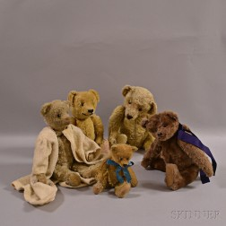 Five Vintage Mohair Teddy Bears