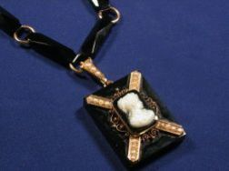 Victorian Onyx and Seed Pearl Pendant Necklace