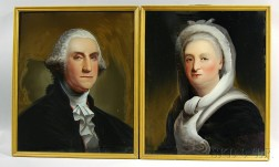 Attributed to William Matthew Prior (American, 1806-1873)       Pair of Reverse-painted Portraits of George and Martha Washington