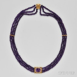 Three-strand Amethyst Bead Necklace