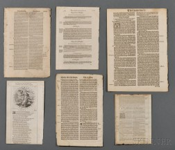 Early Printed Leaves, English Bibles, Six Leaves.