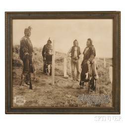 """Large Framed Photograph by Joseph K. Dixon, """"Here Custer Fell (Four Crow Scouts at   Custer Battlefield),"""""""