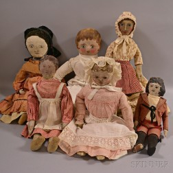 Six Painted Oilcloth Rag Dolls