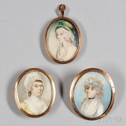 English School, Late 18th/Early 19th Century      Three Portrait Miniatures of Women.