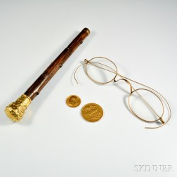 14kt Gold Cane Hilt, a Pair of Spectacles, and Two Gold Coins