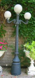 Black Painted Cast Metal Three-Light Post Lamp.