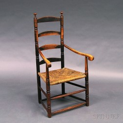 Painted and Stained Ladder-back Armchair