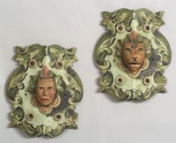 Two Carved Wooden Polychrome Painted Carousel Ornaments