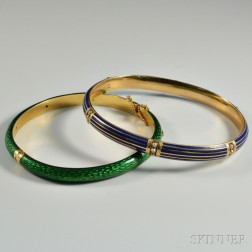 Two Gold and Enamel Bangles