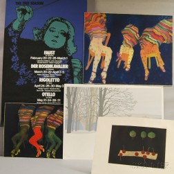 Four Modern Prints and a Boston Symphony Orchestra Poster