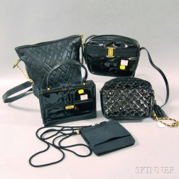 Five Black Leather, Silk, and Patent Leather Purses, Handbags, and Evening Bags