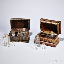 Two Cased Cordial Sets, France, early 20th century, the cases composed from small stacks of leather-bound 18th and 19th century French