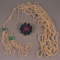 Gem-set Flower Brooch and Seed Bead Necklace