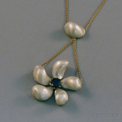 Mississippi River Freshwater Pearl and Sapphire Lavaliere