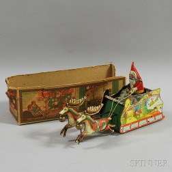 "Strauss Tin Lithographed Wind-up ""Santee Claus"" Toy"