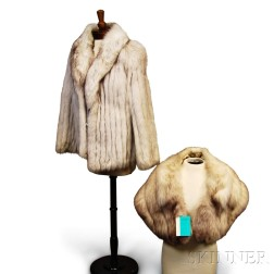 Silver Fox Fur Coat and Stole