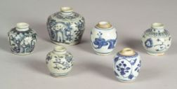 Six Blue and White Jars