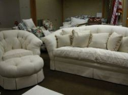 Continental-style White Upholstered Settee, Armchair and Ottoman