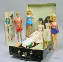 Two Early Barbies, a Boxed Ken, Barbie Friends and Accessories