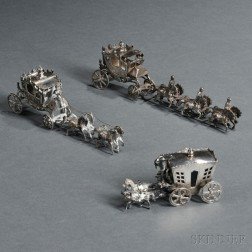 Three Continental Silver Miniature Carriage-form Salts