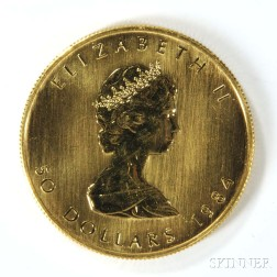 1984 Canadian Fifty Dollar Gold Coin.     Estimate $800-1,200